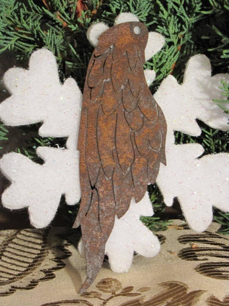 Filigrane engelsfl gel zum h ngen aus edelrost angels for Tiere aus edelrost