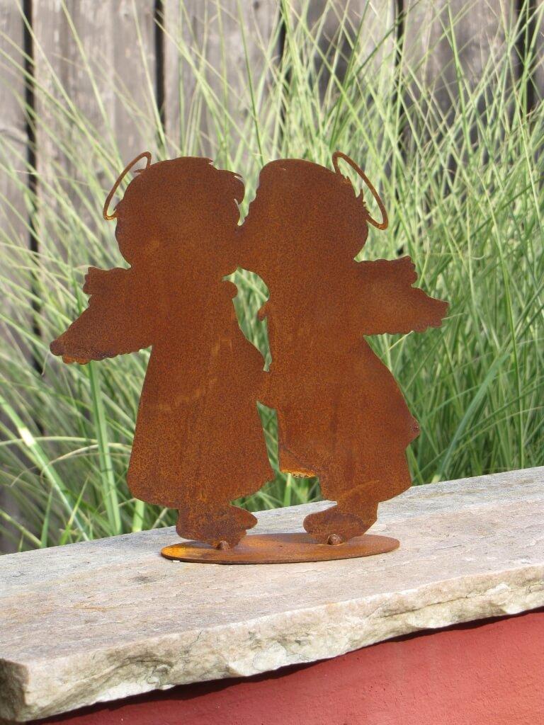 Edelrost engelspaar k ssend angels garden dekoshop for Engel edelrost
