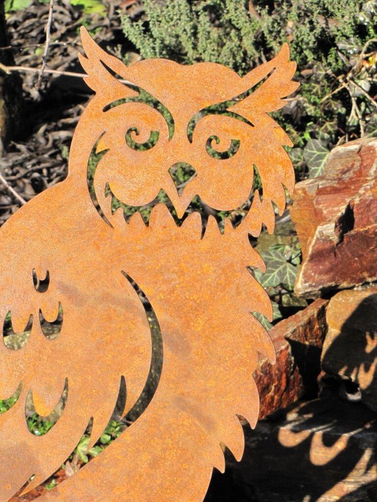 Edelrost eule auf steinsockel 60 cm angels garden dekoshop for Edelrost tiere