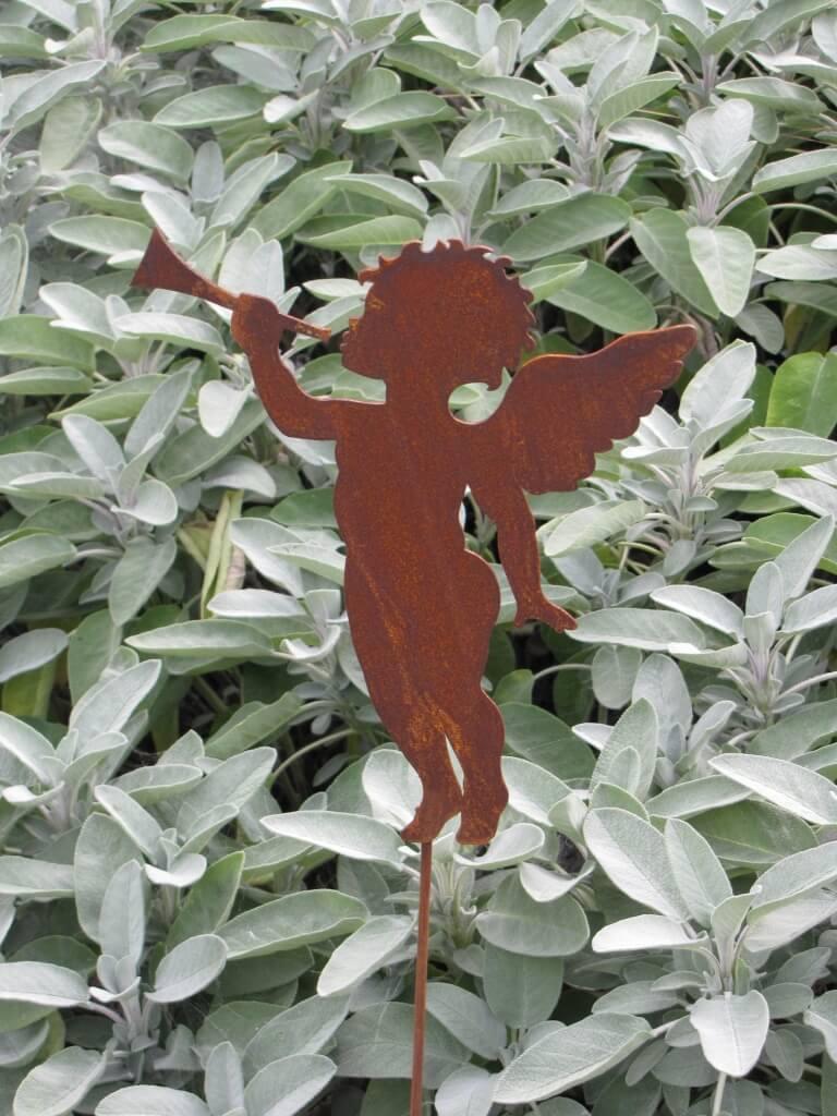edelrost gartenstecker engel mit trompete angels garden. Black Bedroom Furniture Sets. Home Design Ideas