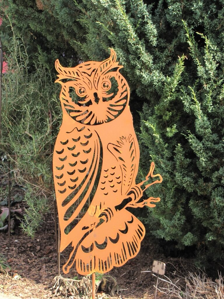 Edelrost gartenstecker eule der nacht angels garden dekoshop for Gartenstecker edelrost