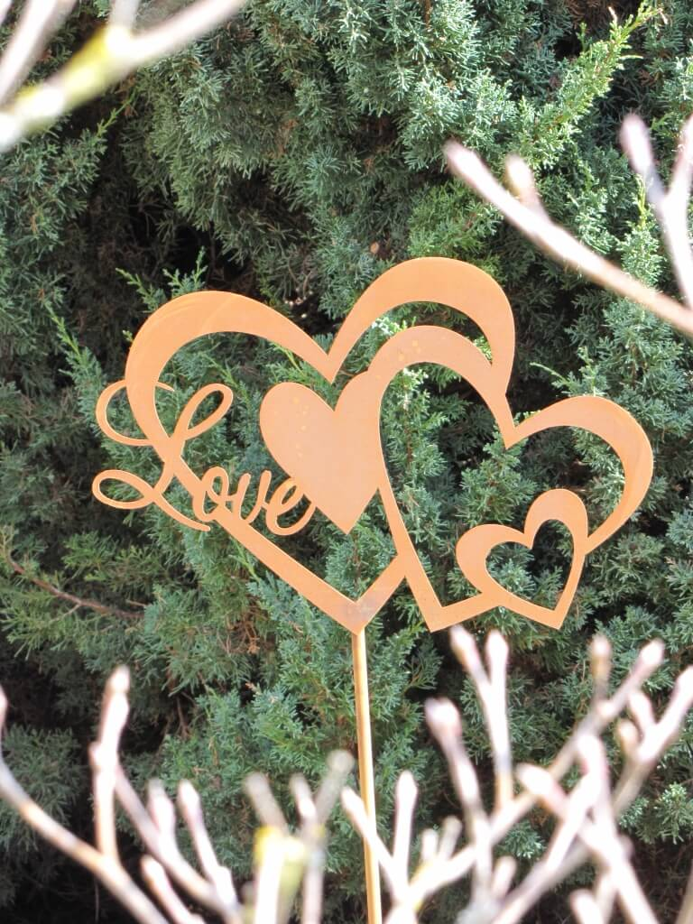 Edelrost gartenstecker herz love angels garden dekoshop for Gartenstecker edelrost