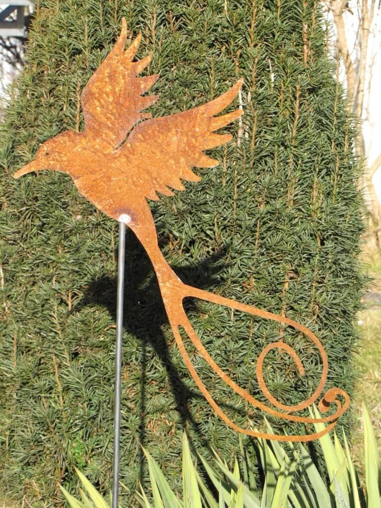 Edelrost Gartenstecker Paradiesvogel - Angels Garden Dekoshop