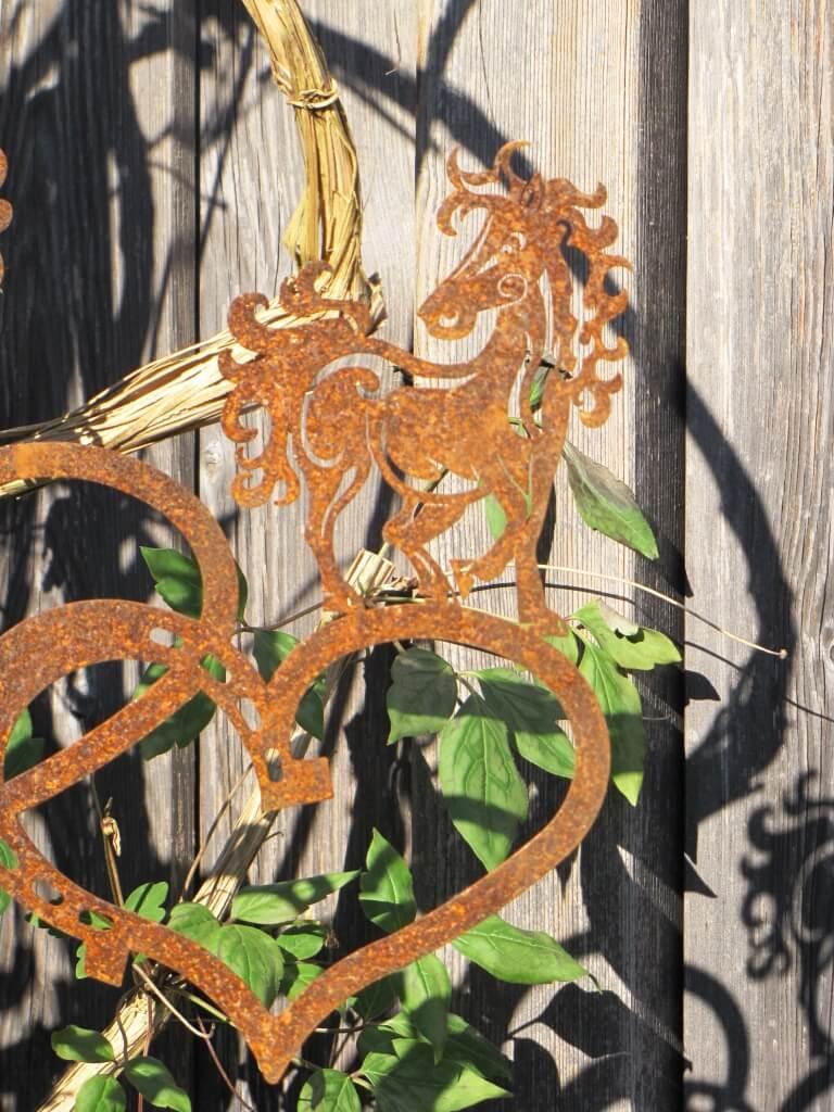 Edelrost gartenstecker pferdeherz filigran angels garden for Edelrost gartenstecker