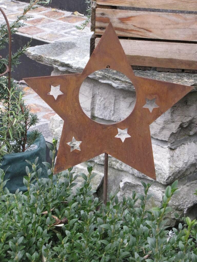 Edelrost gartenstecker stern f r kugeln oder meisenkn del for Gartenstecker edelrost