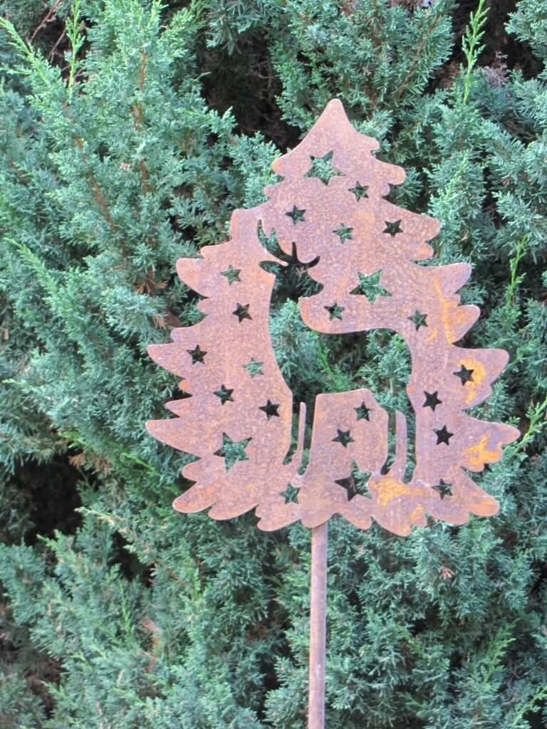 Edelrost gartenstecker weihnachtshirsch angels garden for Gartenstecker edelrost