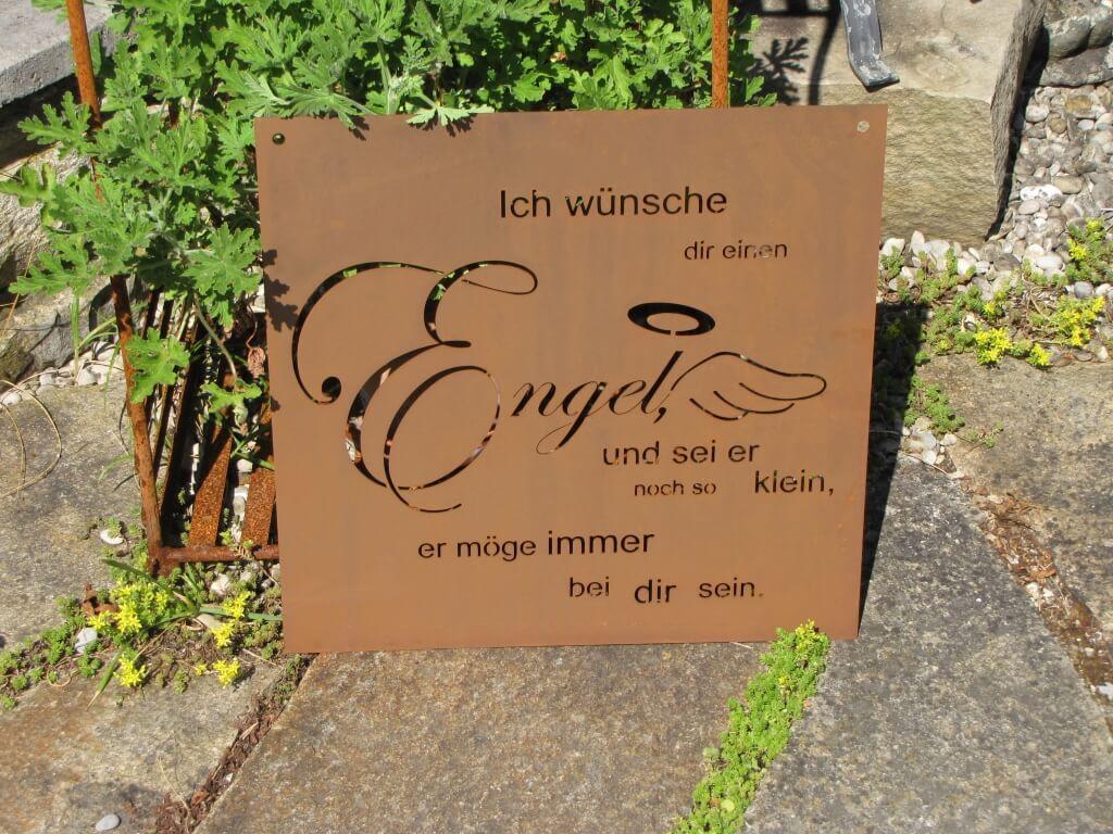 Gedichttafel engel aus edelrost angels garden dekoshop for Engel edelrost
