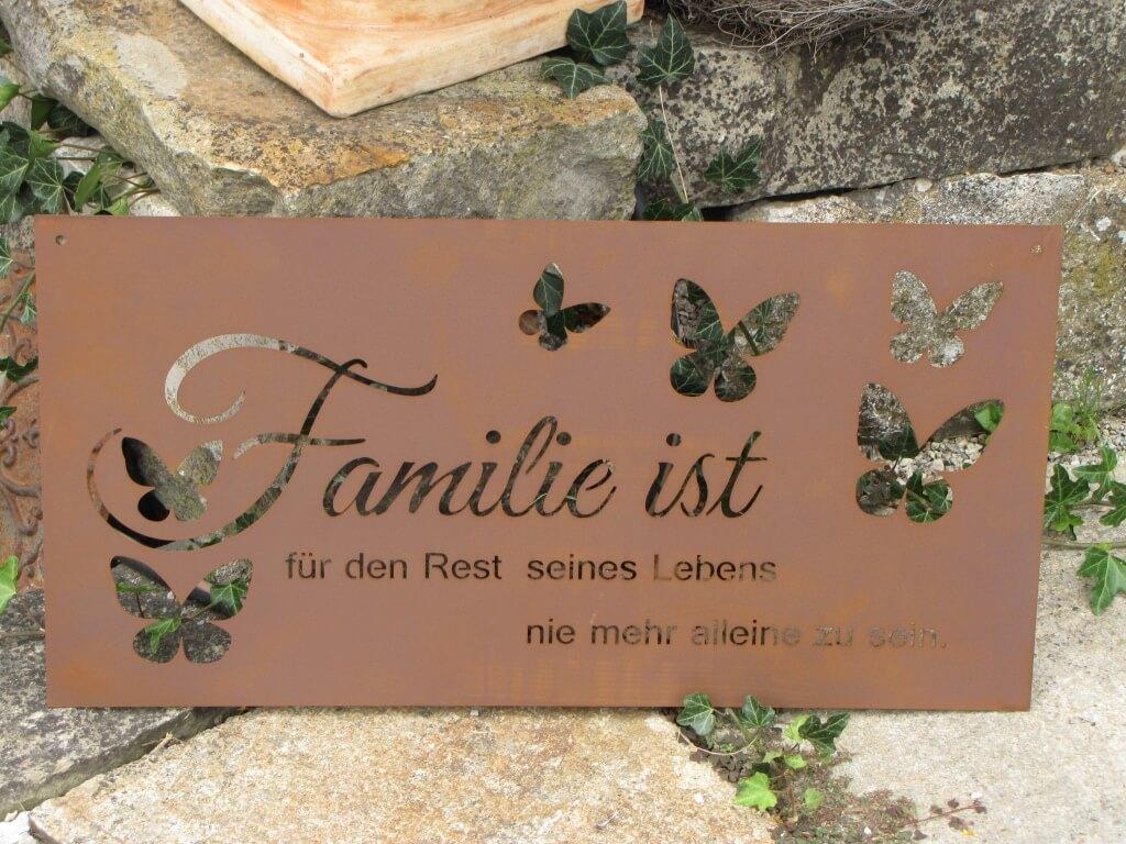 Edelrost gedichttafel familie ist angels garden dekoshop for Rostfiguren tiere
