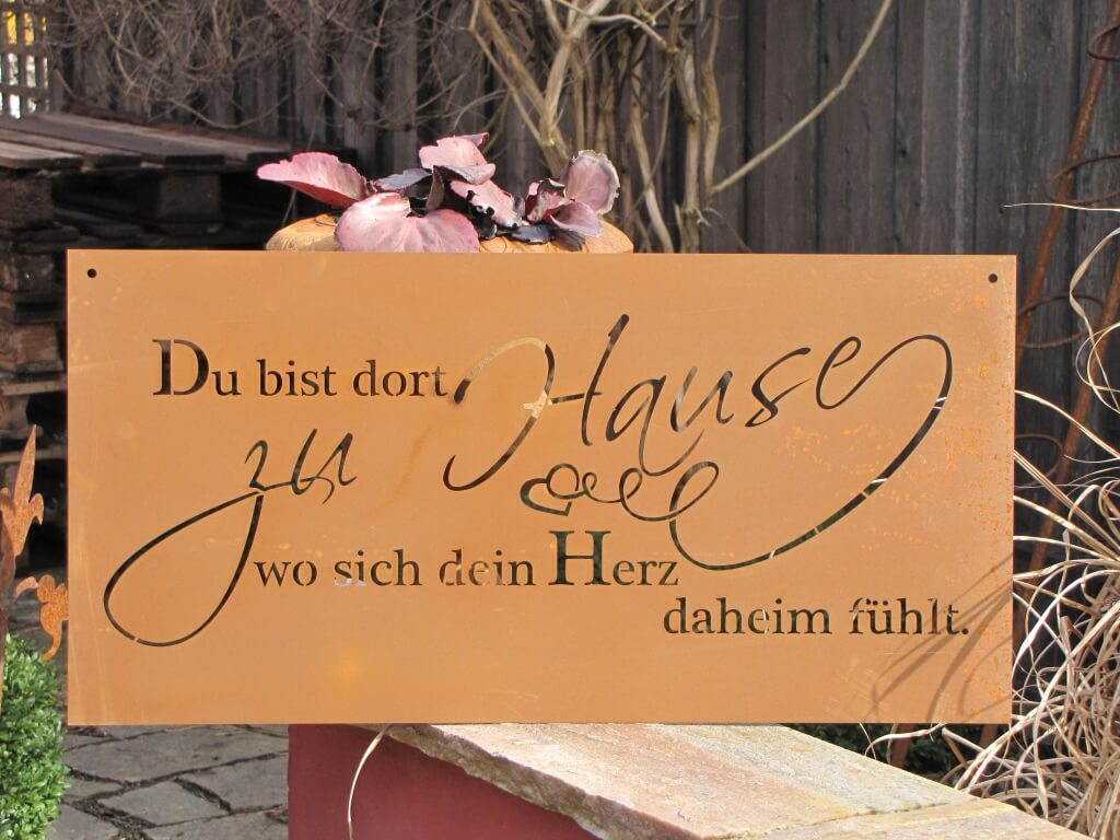 edelrost gedichttafel heimat angels garden dekoshop. Black Bedroom Furniture Sets. Home Design Ideas