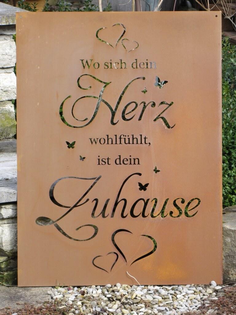 Edelrost gedichttafel herz zuhause angels garden dekoshop for Rostige herzen gartendeko