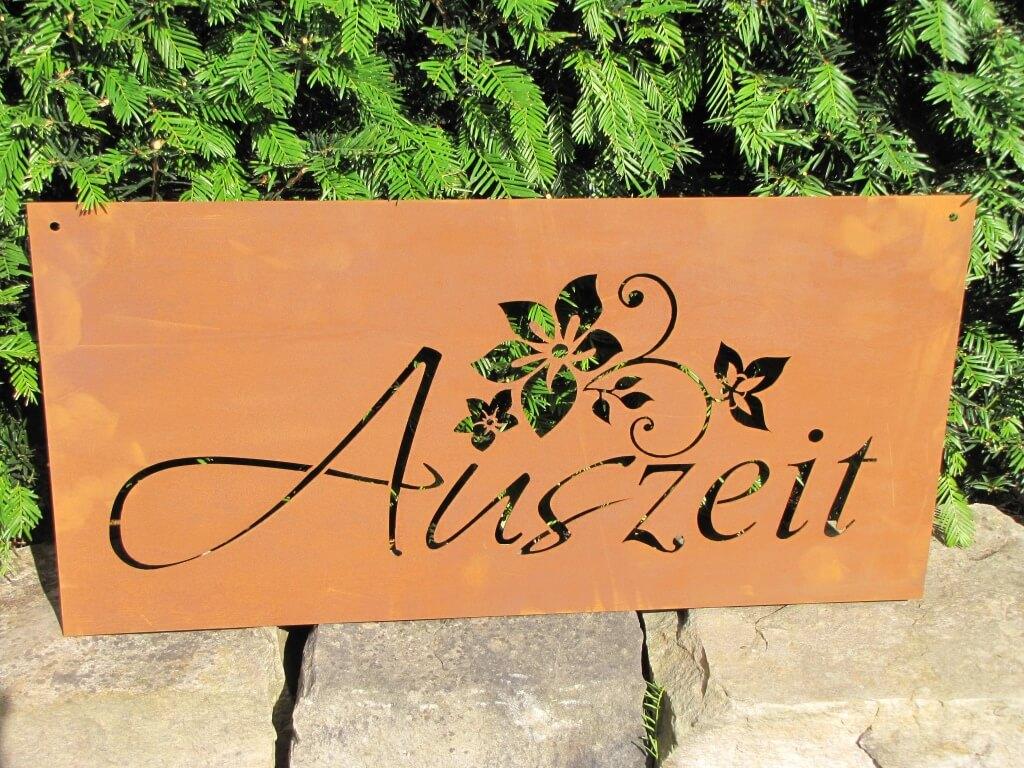 Edelrost gedichttafel auszeit angels garden dekoshop for Garten edelrost