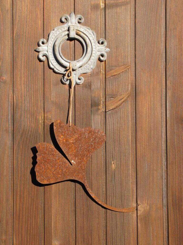 edelrost ginkgoblatt zum h ngen angels garden dekoshop. Black Bedroom Furniture Sets. Home Design Ideas