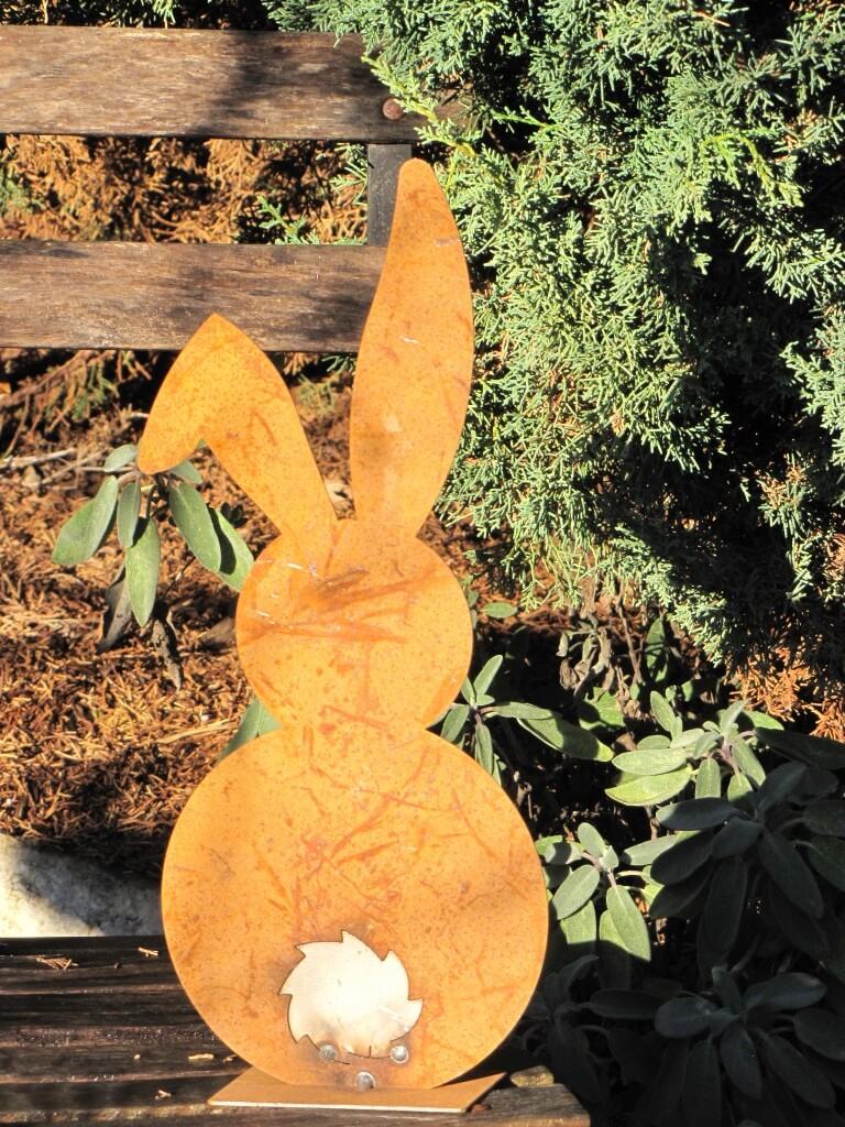 edelrost hase von hinten 35 cm angels garden dekoshop. Black Bedroom Furniture Sets. Home Design Ideas
