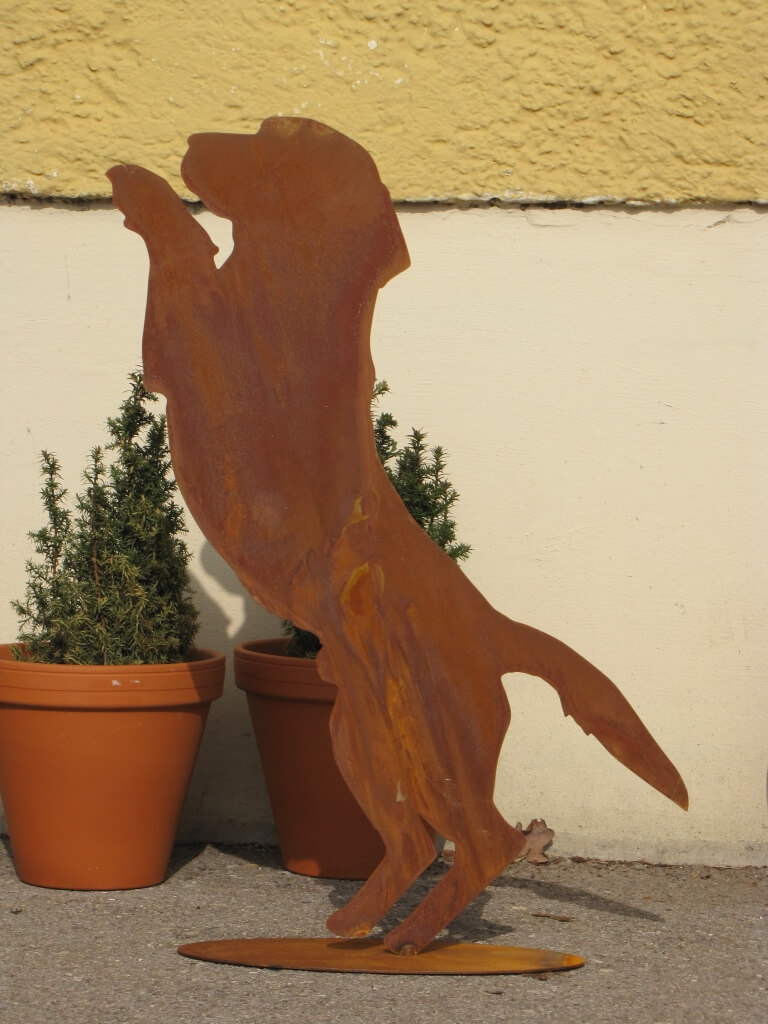 Edelrost hund basti neugierig angels garden dekoshop for Edelrost tiere