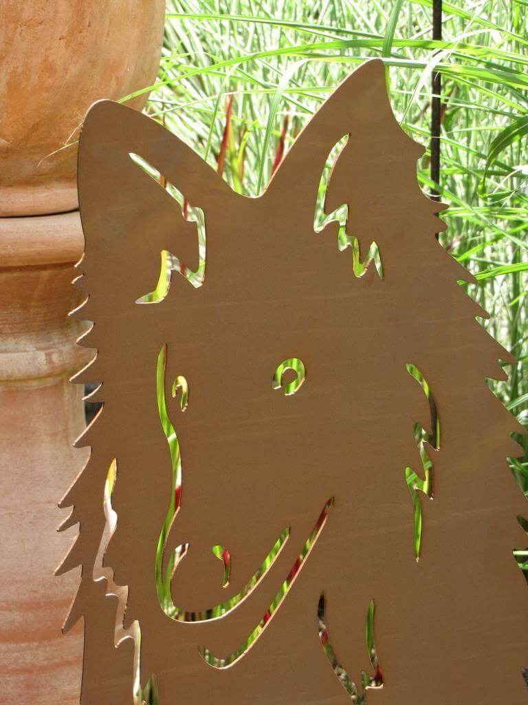 Edelrost dekofigur hund lassie angels garden dekoshop for Edelrost tiere
