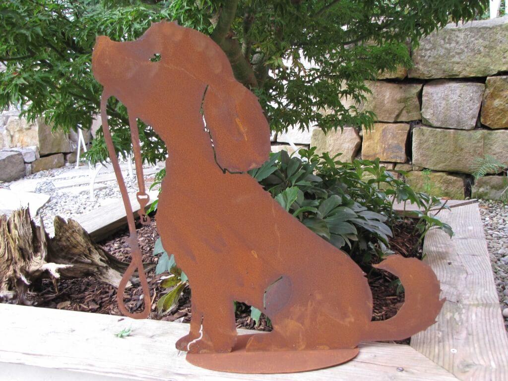 Edelrost gartenfigur hund lucy mit leine angels garden for Edelrost tiere