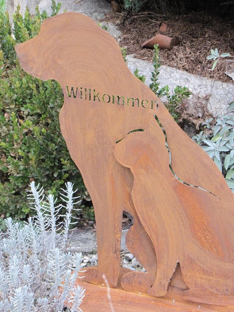 Edelrost hund und katze willkommen angels garden dekoshop for Edelrost tiere