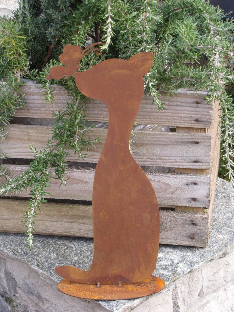 Katze mit schmetterling aus edelrost angels garden dekoshop for Tiere aus edelrost