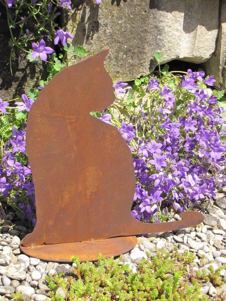 Sitzende katze tom aus edelrost angels garden dekoshop for Tiere aus edelrost