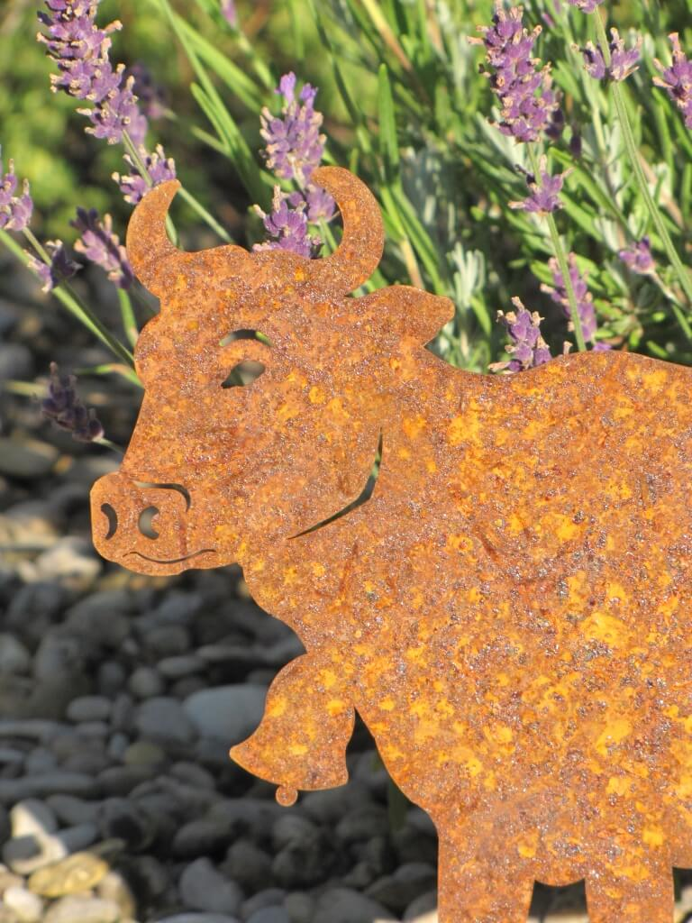 Edelrost kuh auf platte angels garden dekoshop for Edelrost tiere