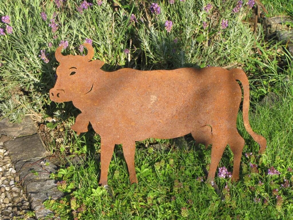 Edelrost kuh auf querstange angels garden dekoshop for Tiere aus edelrost