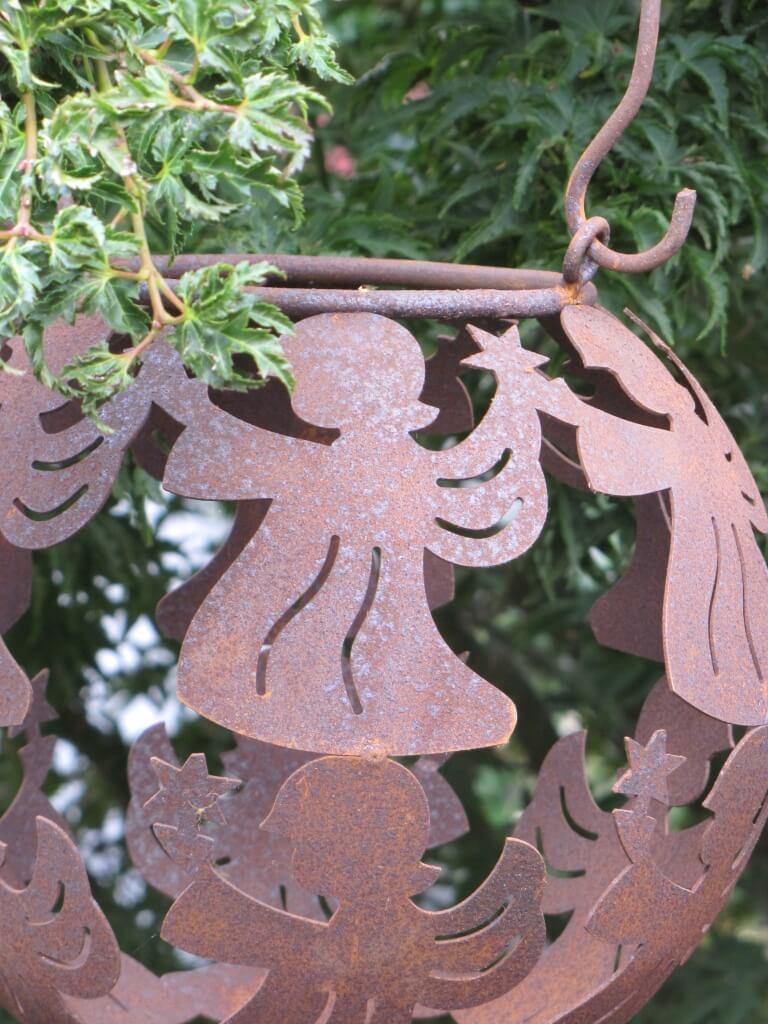 Edelrost laterne engel zum h ngen angels garden dekoshop for Engel edelrost