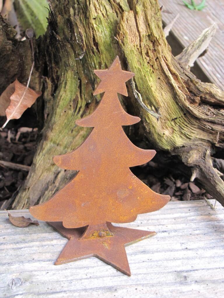 edelrost mini christbaum auf sternplatte metall weihanchtsbaum gartendeko ebay. Black Bedroom Furniture Sets. Home Design Ideas