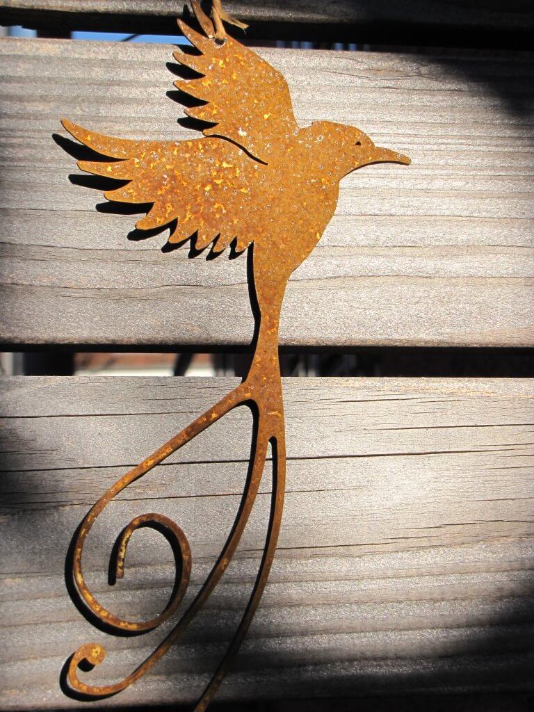 Edelrost paradiesvogel zum h ngen angels garden dekoshop for Edelrost tiere