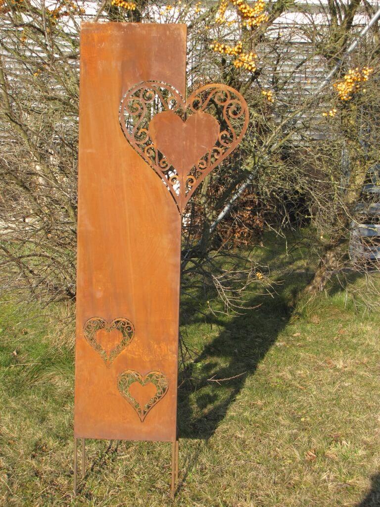 Edelrost Sichtschutz Paravent Herz Angels Garden Dekoshop