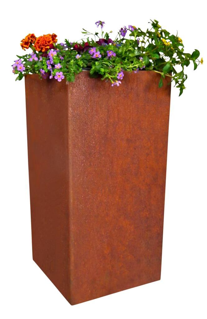 Edelrost Pflanzkübel rechteckig niedrig - Angels Garden Dekoshop