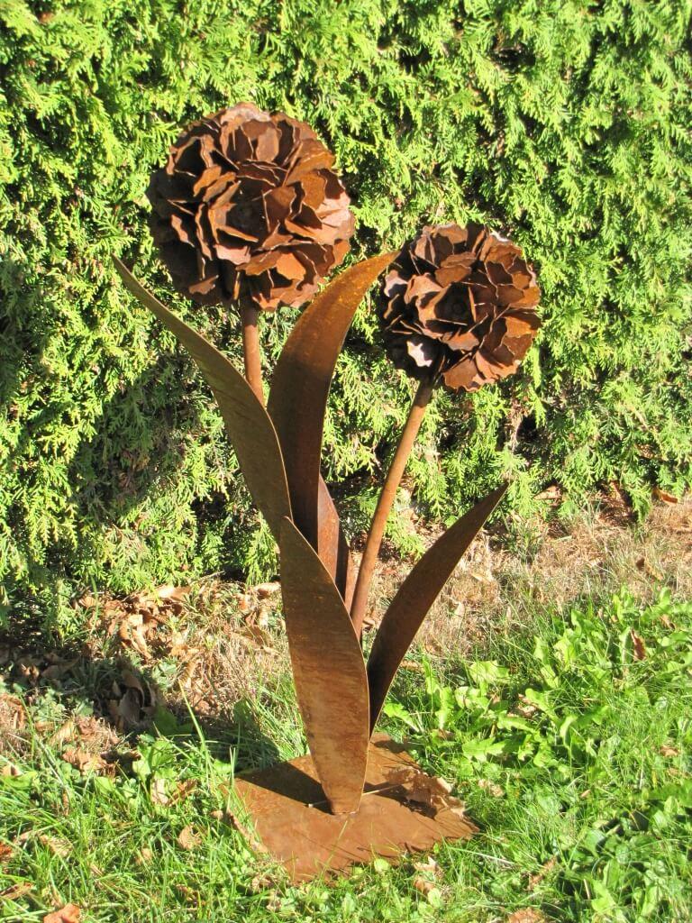 Edelrost pusteblume mit 2 bl ten auf platte angels for Edelrost skulpturen