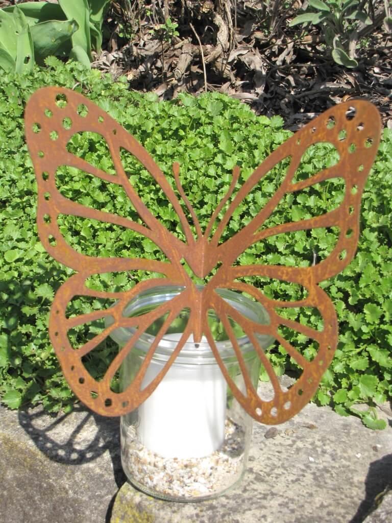edelrost schmetterling f r vase gro angels garden dekoshop. Black Bedroom Furniture Sets. Home Design Ideas