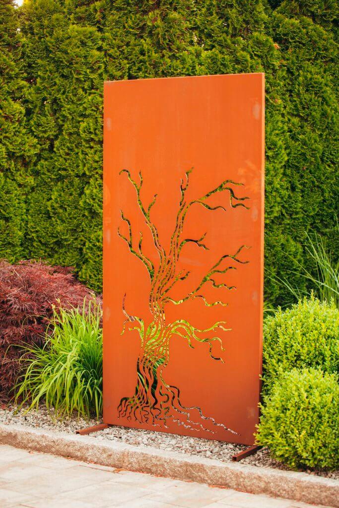 Edelrost sichtschutzwand baum angels garden dekoshop for Edelrost skulpturen garten