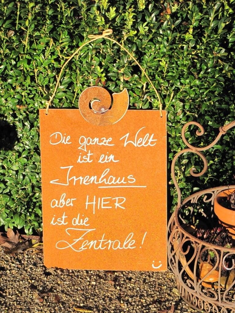Edelrost Schild Mit Schnecke Irrenhaus Angels Garden Dekoshop