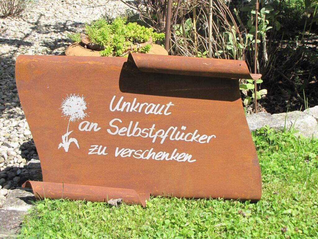 Edelrost Spruchrolle Unkraut Angels Garden Dekoshop