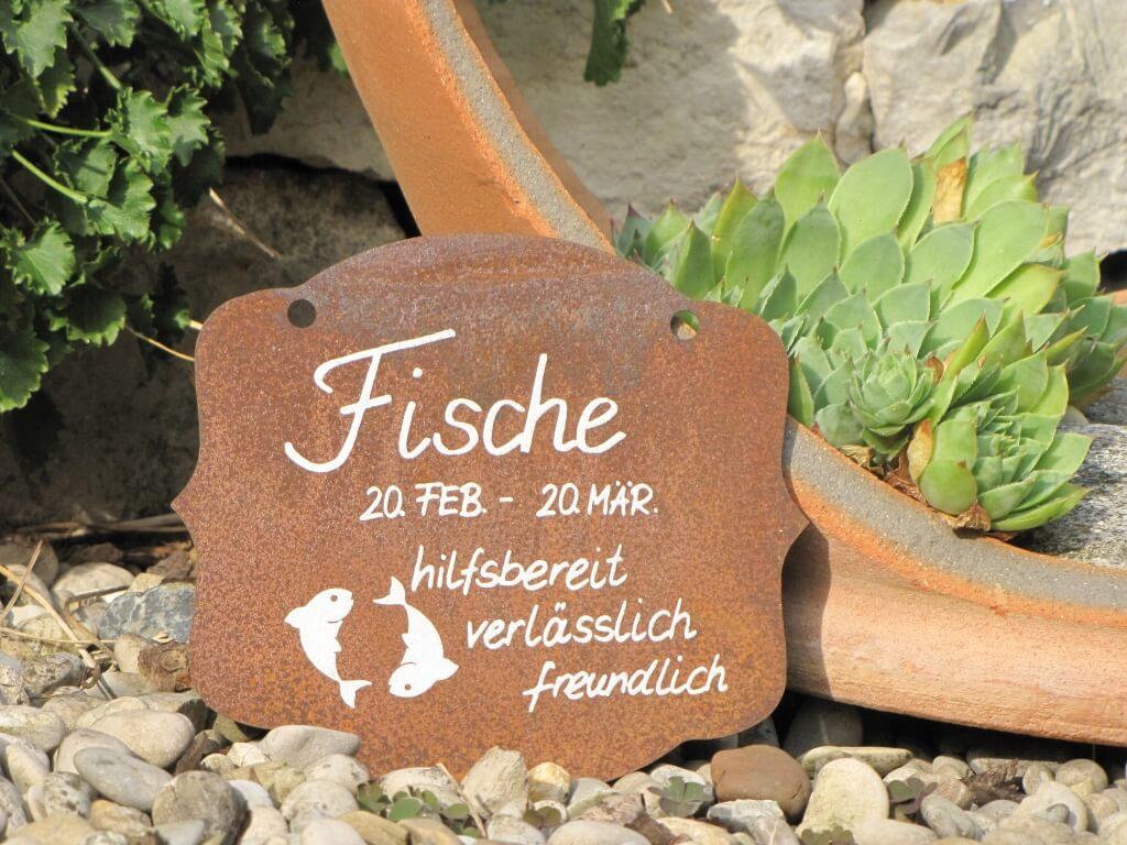 Edelrost Sternzeichen Gedichttafel Fische Wandtafel Metallschild Gartenschild