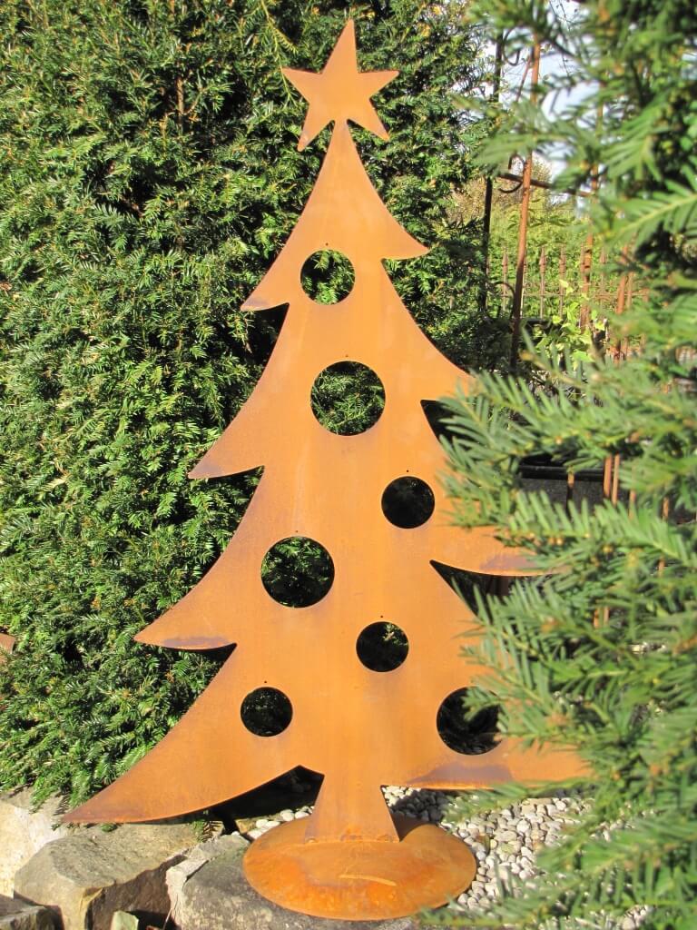 Edelrost tanne f r christbaumkugeln angels garden dekoshop for Gartendeko blech