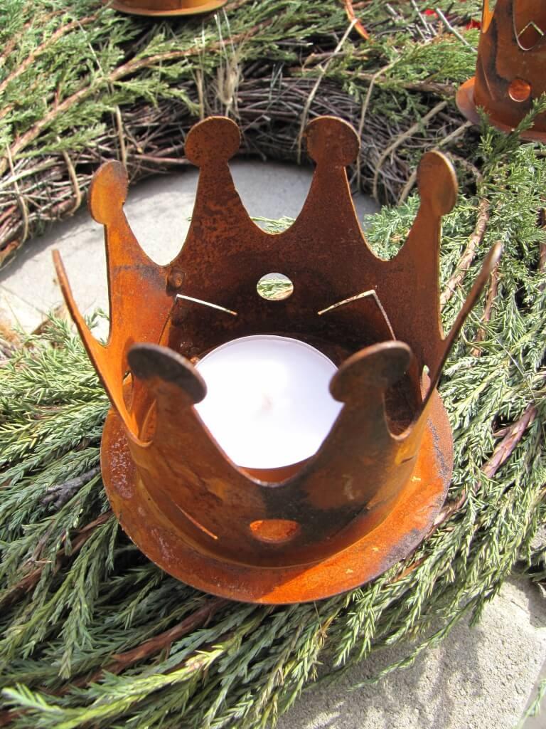edelrost krone mit spie f r adventskranz angels garden. Black Bedroom Furniture Sets. Home Design Ideas