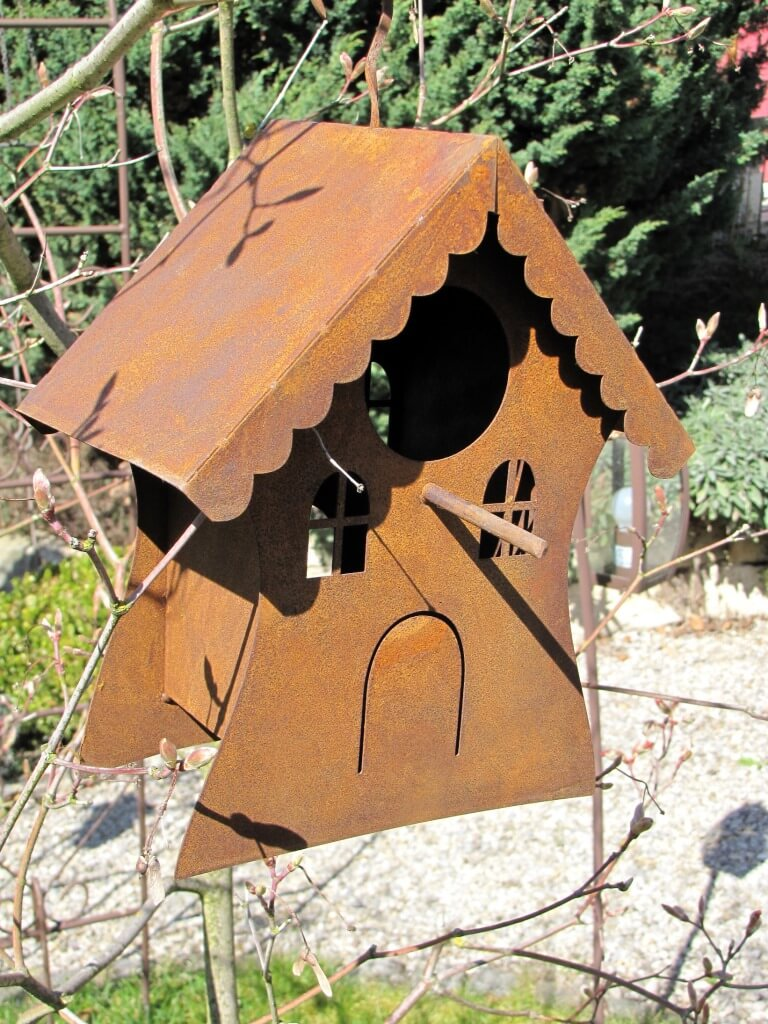 edelrost vogelhaus zum h ngen metall gartendeko futterstelle ebay. Black Bedroom Furniture Sets. Home Design Ideas