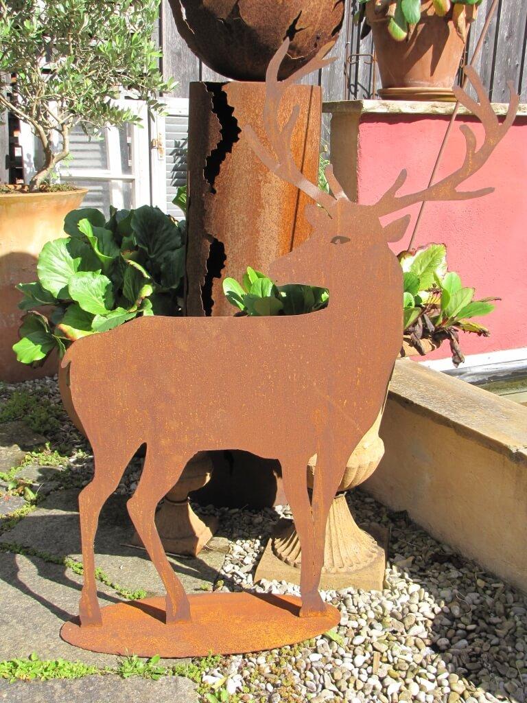 Edelrost hirsch stehend angels garden dekoshop for Edelrost tiere