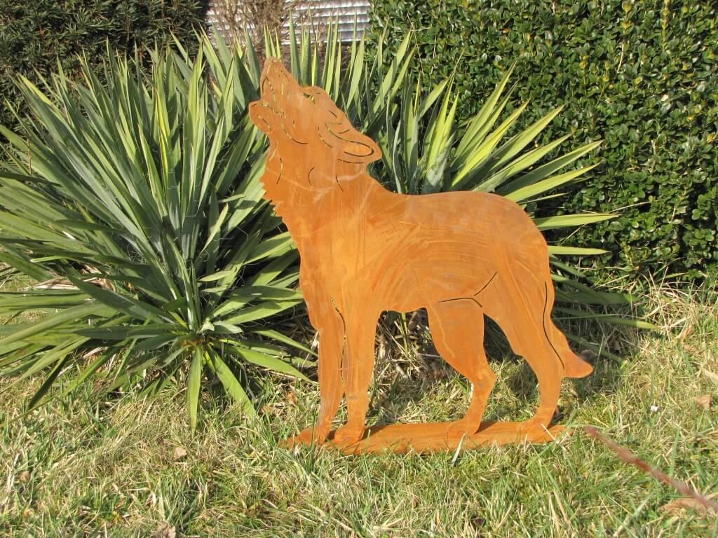 Edelrost wolf heulend angels garden dekoshop for Edelrost tiere