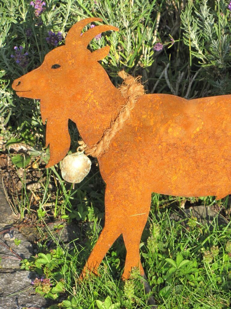 Edelrost ziegenbock auf querstange angels garden dekoshop for Edelrost tiere