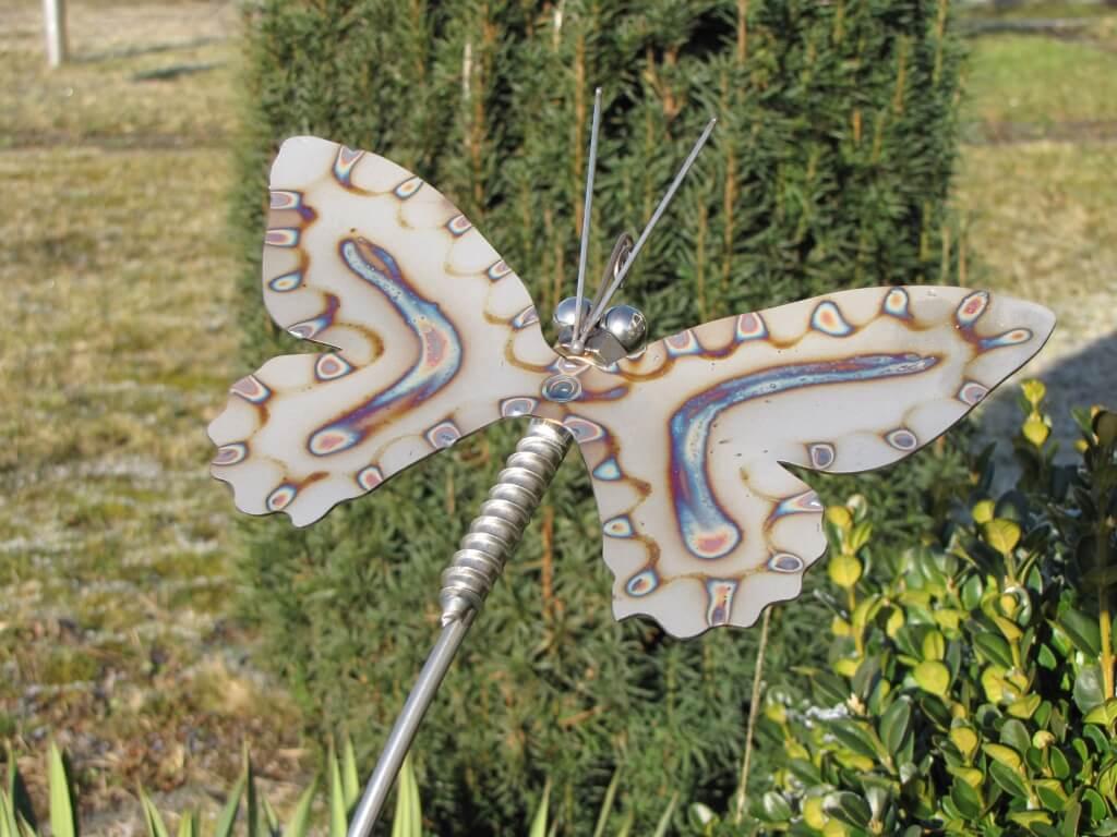 Edelstahl gartenstecker schmetterling 150 cm angels for Gartendeko edelstahl gartenstecker