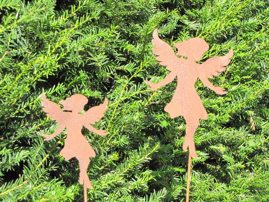 Edelrost gartenstecker engel anny klein angels garden for Dekostab garten