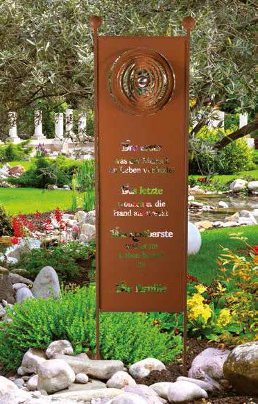 Gartenschild familie edel aus edelrost angels garden for Rostige gartenstecker