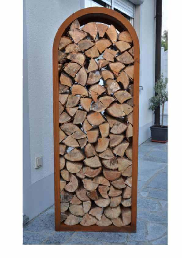 edelrost kaminholzregal halbrunde ausf hrung angels garden dekoshop. Black Bedroom Furniture Sets. Home Design Ideas