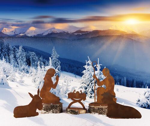 Set weihnachtskrippe klein aus edelrost angels garden for Edelrost figuren