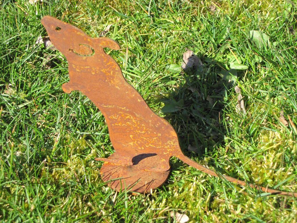 Maus auf platte aus edelrost angels garden dekoshop for Tiere aus edelrost