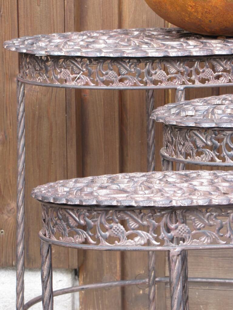 3er set metalltisch pinto mit platte aus gusseisen for Metalltisch klein