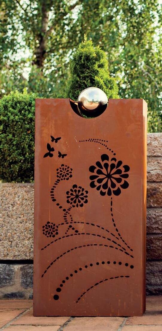 deko s ule rhombus 4 blumen aus edelrost angels garden. Black Bedroom Furniture Sets. Home Design Ideas